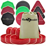 Billiard Evolution 6 Red Air Hockey Pushers & 9 Pucks - 3 Colors & Shapes Red Green Black Round Triangle Octagon