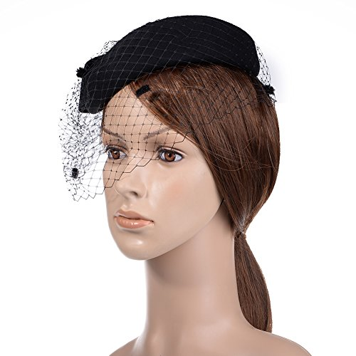 85689e17 VBIGER Women's Fascinator Woolen Felt Pillbox Hat Cocktail Party Wedding Bow  Veil (Black)
