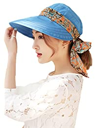 Roll Up Wide Brim Sun Visor UPF 50+ UV Protection Sun Hat with Neck Protector