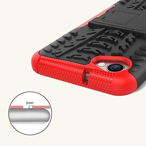 OFU®Para LG Q6 Smartphone, Híbrido caja de la armadura para el teléfono LG Q6 resistente a prueba de golpes contra la lucha de viaje accesorios esenciales del teléfono-blanco rojo