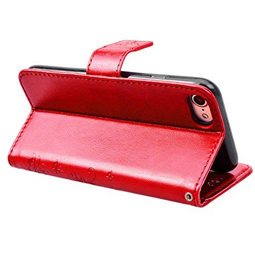 Smart Legend iPhone 7farfalla vino Stock Custodia in pelle Premium Custodia Wallet Case rosso modello cabina Design Custodia Portafoglio Custodia in pelle con cinghia da polso nuovo accessori in pell