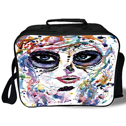 Insulated Lunch Bag,Sugar Skull Decor,Halloween Girl with Sugar Skull Makeup Watercolor Painting Style Creepy Decorative,Multicolor,for Work/School/Picnic, Grey -