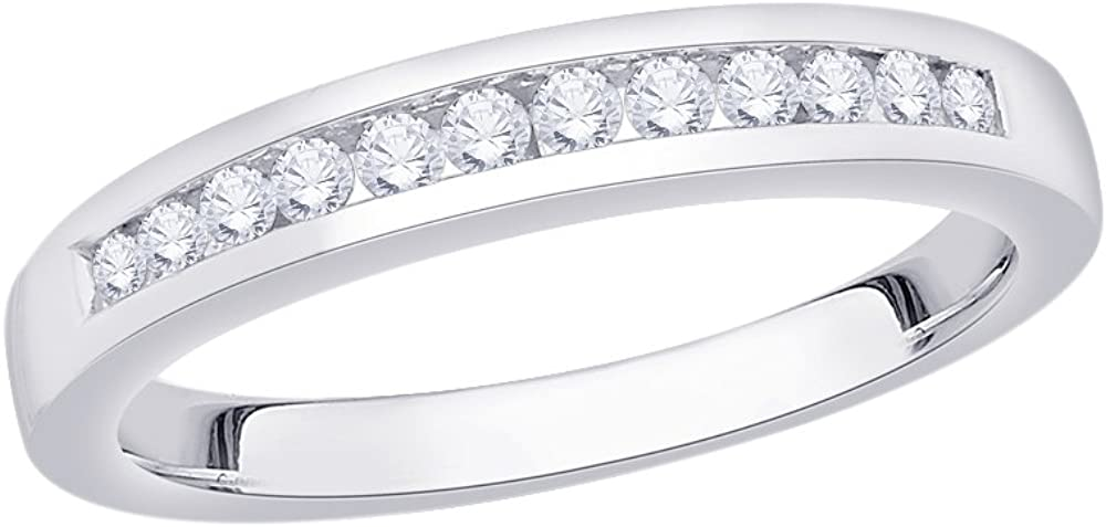 1//4 cttw, G-H,I2-I3 Diamond Wedding Band in Sterling Silver Size-10.5