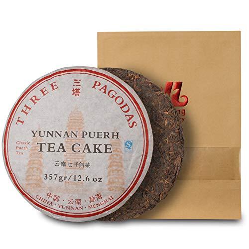 Puerh Tea Cake - Three Pagodas (Santa) - (150+cups) 7th Grade Ripe Pu Erh Tea -100% Natural Chinese Yunnan Black Fermented Compressed Aged Menghai Shou Pu-erh Tea - Med. Caffeine Level (357g\12.6oz)