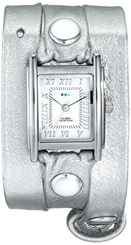 La Mer Collections Women's LMMTW1002 Silver-Tone Watch With Metallic Leather Wraparound Band