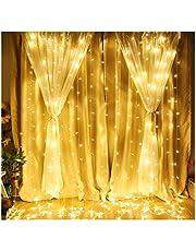 ستارة نافذة سلسلة ضوء 300 ليد ستارة أضواء ليد جليد سلسلة عيد الميلاد الجنية أضواء الزفاف لحفلات الزفاف المنزل حديقة النوم في الهواء الطلق ديكور الجدار الداخلي (أبيض دافئ)
