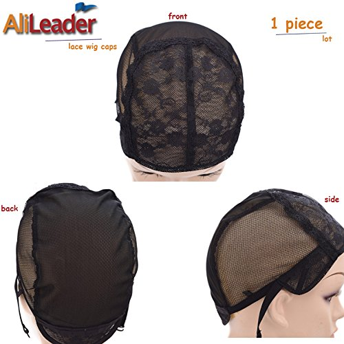 Black Double Lace Wig Caps For Making Wigs Hair Net with Adjustable Straps Swiss Lace Large Size from AliLeader by AliLeader (Image #4)