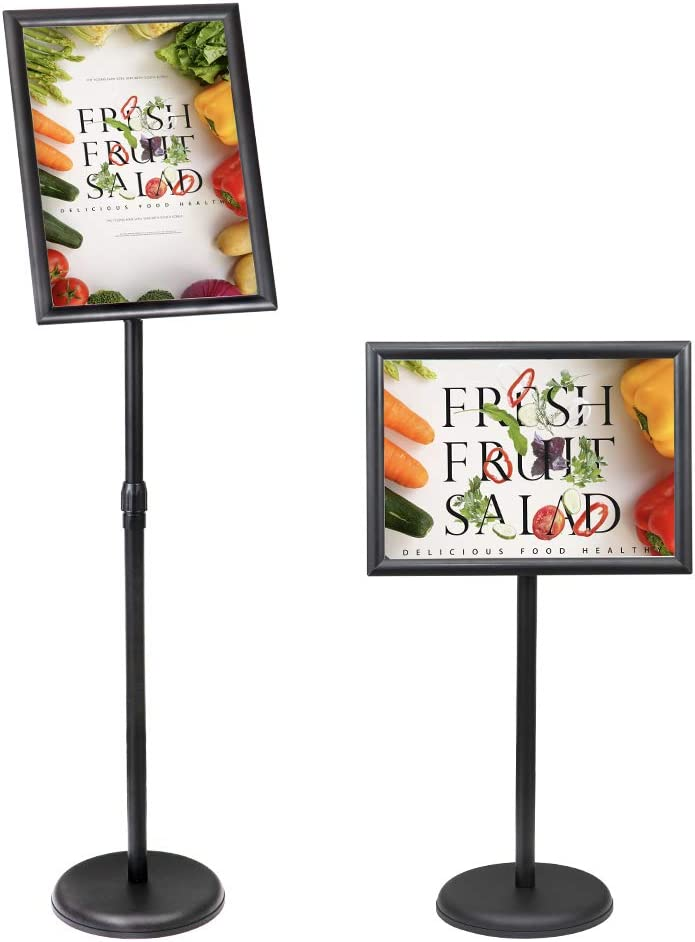 SENZHIYI Adjustable Poster Stand Holder 8.5 X 11 Inch, Heavy Duty Snap Open Aluminum Pedestal Floor Standing Sign Holder Vertical and Horizontal View Sign Displayed