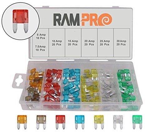 RamPro 120-Pc Car Truck Boat Fuse Assortment Kit - 5, 7.5, 10, 15, 20, 25, 30 AMP – Mini Small ATM/APM Blade Fuses