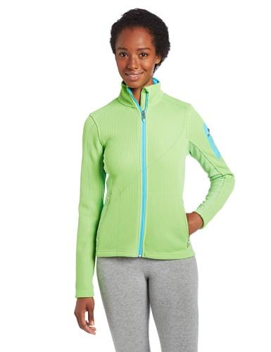 Spyder Women's Linear Core Sweater, Green Flash/Splash, X-Large