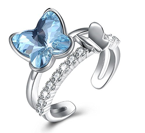 Lhy Swarovski Crystal Butterfly Open Ring in Sterling Silver