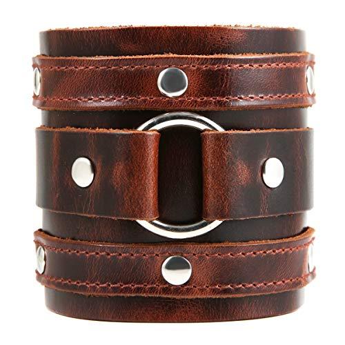 HZMAN Wide Cuff Wrap Gothic Wristband Punk Rock Biker Wide Strap Leather Bracelet -