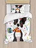 Twin XL Extra Long Bedding Set,Kids Birthday Duvet Cover Set,Black and White Boston Terrier Dog with Colorful Party Celebration Backdrop,Cosy House Collection 4 Piece Bedding Setss
