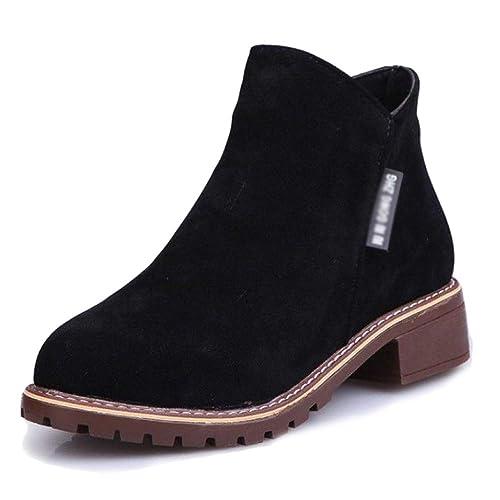 Chelsea Boots Botines Planos De Gamuza Zapatos Martin Cómodo Botas De Tacón Bajo Boca En Forma De V Trabajo Al Aire Libre: Amazon.es: Zapatos y complementos