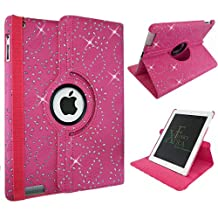 Xtra-Funky Exclusive iPad AIR 1 Crystal Diamante PU Leather 360 Degree Rotating Smart Case with Auto Wake / Sleep Function Includes a Screen Protector and Soft Tipped Stylus - HOT PINK