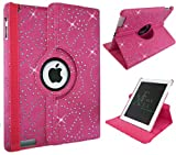 Xtra-Funky Range iPad AIR 1 (iPad 5) Crystal Diamante PU Leather 360 Degree Rotating Smart Case with Auto Wake / Sleep Function Includes a Screen Protector and Soft Tipped Stylus - HOT PINK