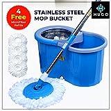 Hugo Bucket Magic Spin Double Drive Hand Pressure Microfiber Mop (Blue, 4 Refills)