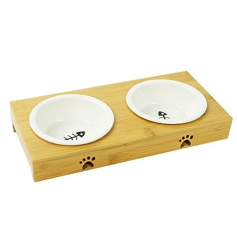 Dispensador de Agua de alimentación inclinable para Mascotas Conveniente de Doble Uso Cuenco de Gato de