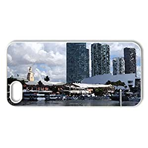 Miami Florida - Case Cover for iPhone 5 and 5S (Watercolor style, White)
