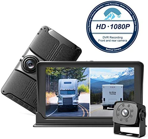 HD Backup Front Camera with 7 Monitor,Dash Camera Front and Rear View Cam DVR with 1080P,Advanced Recording Function,IP69 Waterproof,Night Vision for RV Pickup Truck Trailer Bus