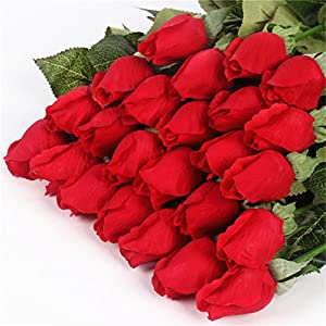 DHD Real Touch Rose Bud 25Pcs/Lot Artificial Silk Wedding Flowers Bouquet Home Decorations For Wedding Party Or Birthday Small Buds Red
