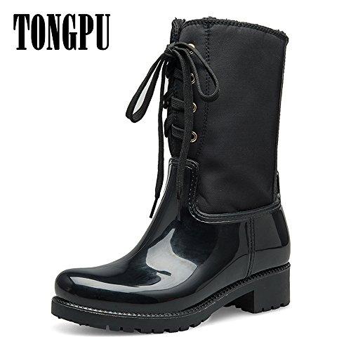 And TONGPU Lace for Women Rain Black Waterproof Girl Up Boots Fashion xqC8U
