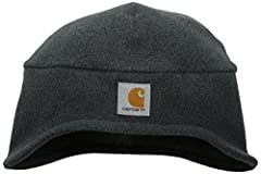 Carhartt's 2-in-1 fleece headwear combines a fleece hat with a pull-down face mask that tucks up into the hat when not in use. The hat is 100% polyester fleece and the face mask is a 90% polyester/10% spandex blend. For added comfort, the inn...
