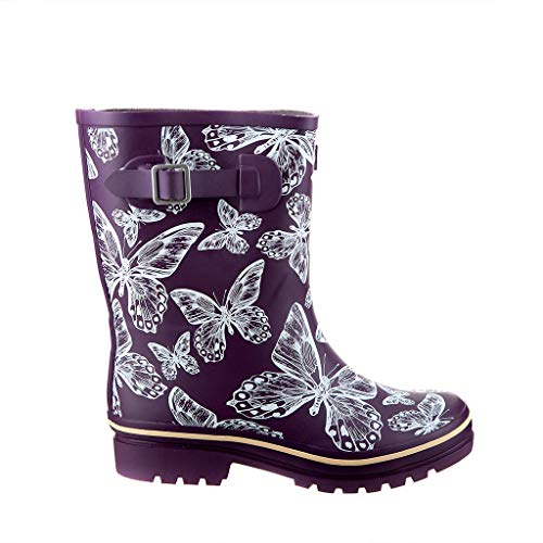 Jileon Half Height Rain Boots for Women - Wide in The Foot and Ankle - Durable All Weather Boots,Purple,9 E US