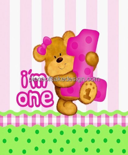 1/8 ~ 1st Birthday I'm One Pink Teddy Bear Birthday ~ Edible Cake/Cupcake Topper!!!