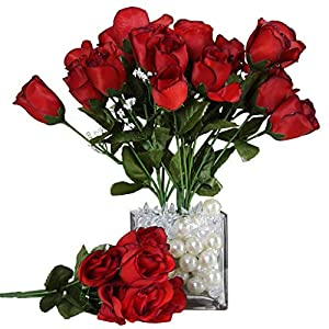 BalsaCircle 84 Black and Red Silk Rose Buds – 12 Bushes – Artificial Flowers Wedding Party Centerpieces Arrangements Bouquets Supplies
