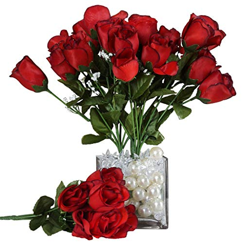 Wholesale Red Roses - BalsaCircle 84 Black and Red Silk Rose Buds - 12 Bushes - Artificial Flowers Wedding Party Centerpieces Arrangements Bouquets Supplies