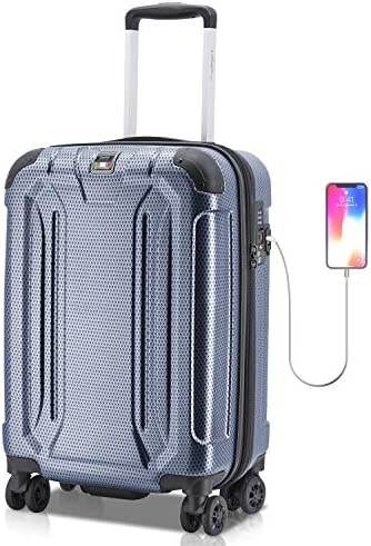 Villagio Hard Shell Luggage – Suitcase with USB Port – Tamper Proof Luggage With Anti-Theft Zipper – Durable Hard Shell Suitcase Corner Bumper Hard side Luggage – High-End Carryon Luggage