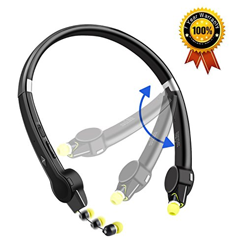 Foldable Bluetooth Headset, NEXGADGET Wireless Neckband Bluetooth Headphones (12 Hours Playtime,Bluetooth 4.1,Sweatproof) Stereo Noise Reduction Retractable Earbuds for iPhone and Android Cell Phones