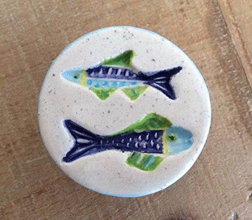 Handmade Ceramic Swimming Fish Knob, Round Fish Knob - Nickel Look Accents