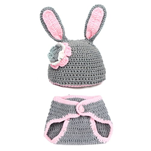 Dealzip Inc® Fashion Unisex Newborn Boy Girl Crochet Knitted Baby Outfits Costume Set Photography Photo Prop-Grey Bunny Rabbit +Gift pattern send randomly