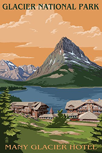 Many Glacier Hotel   Glacier National Park  Montana  16X24 Giclee Gallery Print  Wall Decor Travel Poster