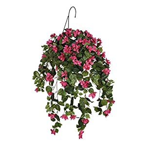 House of Silk Flowers Artificial Pink Bougainvillea Hanging Basket 6