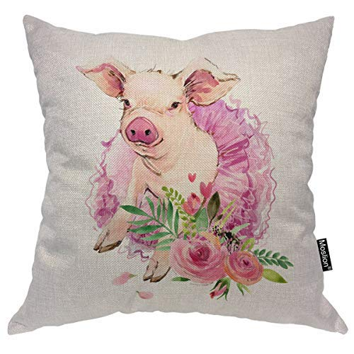 Moslion Pig Pillow Case Cute Farm Animal Piggy with Pink Ballerina Dress Flowers Leaves Throw Pillow Cover Decorative Square Cushion Accent Cotton Linen Home 18x18 Inch ()