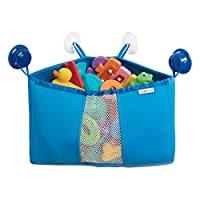 mDesign Corner Kids and Baby Suction Shower Caddy, Bath Toy Organizer - Blue