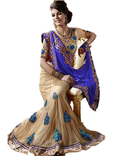 EthnicWear Blue Cream Georgette Net Half n Half Wedding Bridal Best Lehenga Saree by Ethnicwear