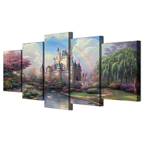 Framed Pictures for Girls Bedroom Cinderellas Castle Paintings on Canvas Fairy Wall Art Home Decor 5 Piece Modern Artwork for Living Room Giccle Posters and Prints Stretched Ready to Hang(50''Wx24''H) ()