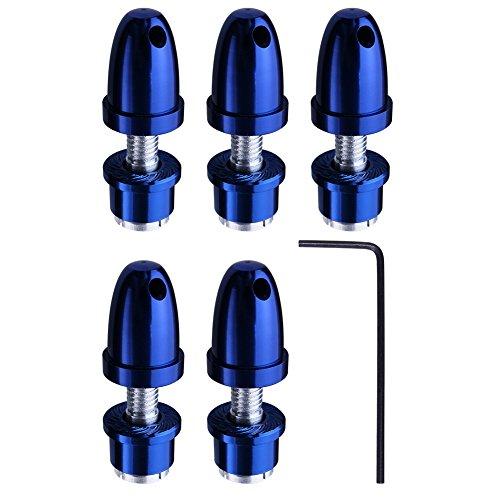 (5-Pack) HobbyPark RC Airplane Bullet Spinners Propeller Saver Adapter Holder Hubs For 3.0mm Shaft Brushless Motor Dark (Shaft Saver)