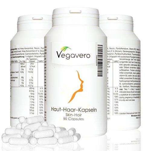 HAUT HAAR VITAMINE SKIN HAIR VITAMINS 90 Kapseln , mit Hirse, Panthothensäure, Biotin, B1, B2, Niacin, B12, Folsäure, Lebenslange Zufriedenheitsgarantie, Vegan