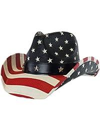 MenÕs Vintage Tea-Stained USA American Flag Cowboy Hat w/Western Shape-It Brim