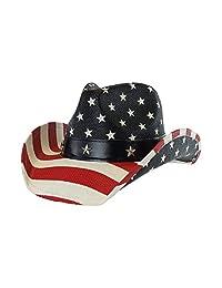 Vamuss Men's Vintage USA American Flag Cowboy Hat w/Western Shape-It Brim.