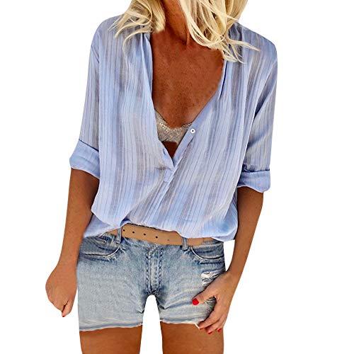 Femmes Sexy Fille et Jours Chemise Les Haut Tops Longue Slim 2018 Manches Vrac t Bleu Tous en Shirt Mode OVERMAL Automne Dcontracte Bureau Blouse Sexy 1 Chic T Vetements aw87q85