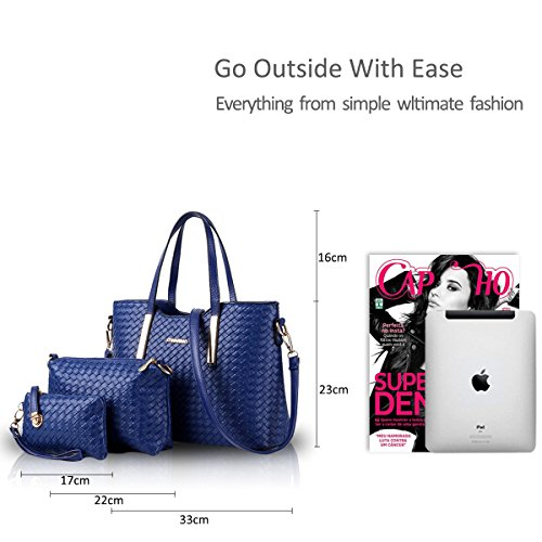 Soft Handbag Leather Fashion amp;Doris PU Tote Purse 3pcs Bag Shoulder Crossbody Blue Nicole Bag Silver xCBwv11