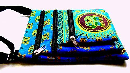 Tre Pocket passaporto borsa a tracolla con elefante design (blu)
