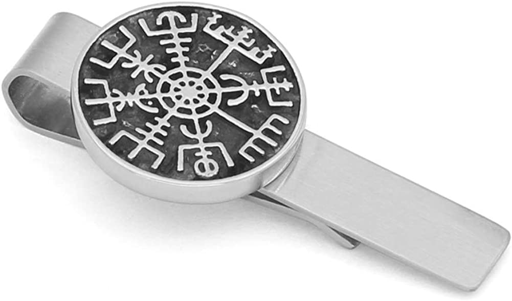 GuoShuang Stainless Steel Nordic Viking Rune Compass Amulet Tie Clips Small Size with Valknut Gift Bag