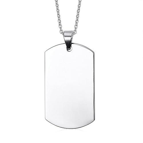 161a0abdd1f8 Daesar Joyería Acero Inoxidable Colgante Collar Hombre Placa de Militar Dog  Tag ID Pendant Grabado 48MM  Amazon.es  Joyería